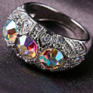 Mystic Topaz Ring 8 Silver AB Crystal 10KT Gold GF